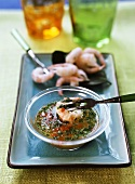 Shrimps with chili herb sauce