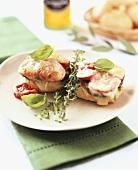 Courgettes and mozzarella on bread roll