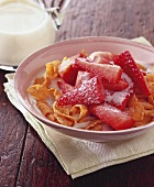 Cereal flakes with strawberries
