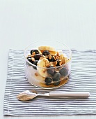 Yoghurt with muesli, banana, blueberry and honey