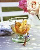 Peach in champagne