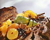 Still life with dried fruit and spices