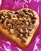Heart-shaped fig cake