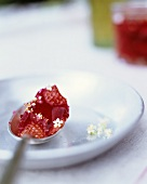Strawberry and elderflower jam on a spoon