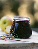 Elderberry and apple jam in jar