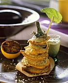 Tower of battered aubergine slices