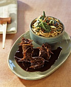 Pork fillet with ginger and Asian noodles