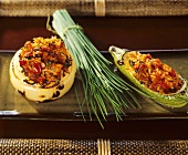 Onion and cucumber stuffed with vegetable rice