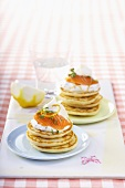 Blinis with salmon and sour cream
