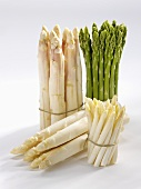 Four types of asparagus in bundles
