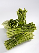 Four bundles of green asparagus