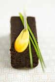 Brownie with yellow flower