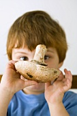 Small boy holding field mushroom in front of his face