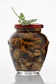Marinated mussels in jar