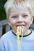 Small boy eating ribbon pasta