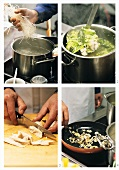 Making rice noodle soup