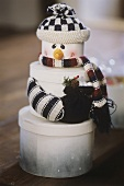 Snowman made from gift boxes