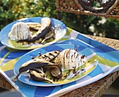 Grilled banana with vanilla ice cream and chocolate sauce