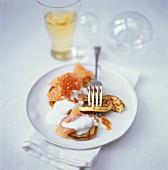 Blinis with salmon, caviar and crème fraîche