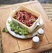Carrot and red cabbage salad for a picnic