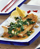 Fried fish fillet with ginger and spinach sauce