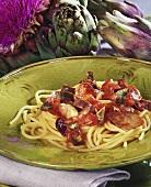 Spaghetti with artichoke and tomato sauce