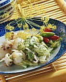 Squid with spicy cucumber salsa