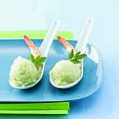 Cucumber and wasabi sorbet with shrimp tails
