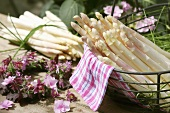 White asparagus in open air with flower wreath