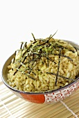 Rice with seaweed and matcha tea powder
