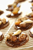 Chocolate biscuits with nuts and raisins