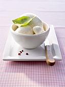 Frischer Mozzarella mit Basilikumblatt in einem Schälchen
