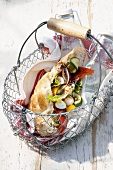 Flatbread with grilled vegetables & marinated mozzarella