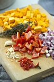 Ingredients for pumpkin and pepper stew