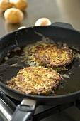 Potato Pancakes in a Frying Pan