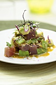 Tuna with avocado and wasabi sauce