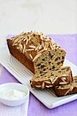 Fruit loaf with slivered almonds