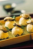 Nigiri balls with mussels