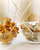 Scampi and tofu on sticks