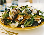 Filled pancakes with goat's cheese, mushrooms & pak choi
