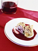 Cod wrapped in savoy cabbage leaf with red wine butter