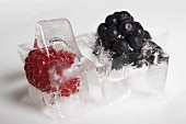 A blackberry ice cube and a raspberry ice cube