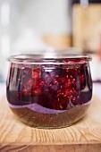 A jar of berry jam