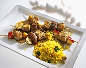Fruity rabbit kebabs with lemon rice