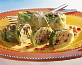 Cabbage roulades with curry sauce