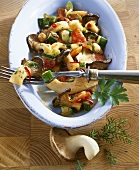 King oyster mushrooms with vegetables