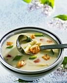 Creamed asparagus soup with salmon