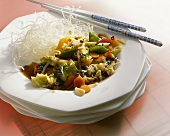 Asian vegetables with deep-fried rice vermicelli