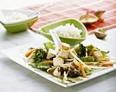 Tofu on Asian vegetables