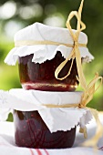 Two jars of berry jam to give as gifts